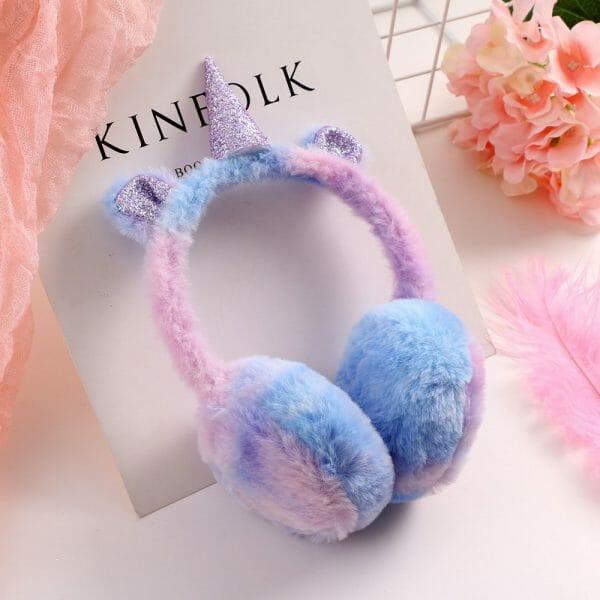 Unicorn Gradient Plush Warm Earmuffs For Kids