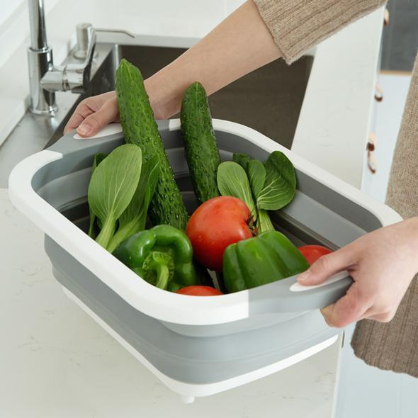 Collapsible Dish Tub&Cutting Board With Draining Plug