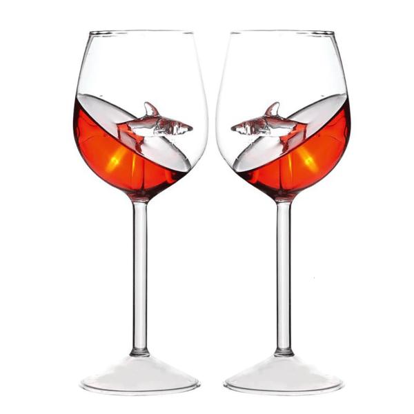 Crystal Shark Wine Glass