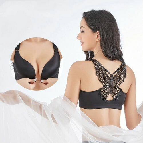 Butterfly Embroidery Front Closure Wireless Bra