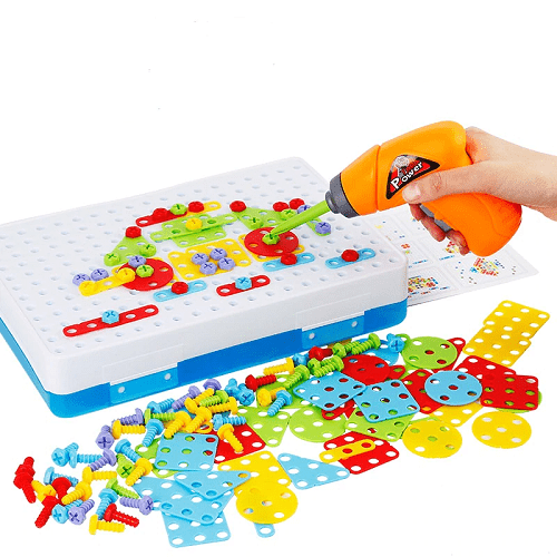 Toy Electric Drill Screws Puzzle Assembled