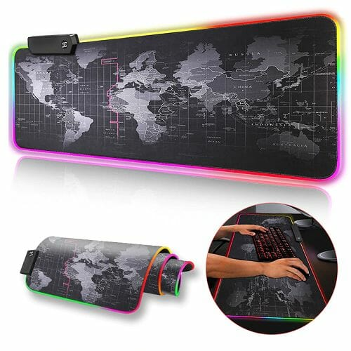 Premium XL Extended LED Mouse Pad – World Map