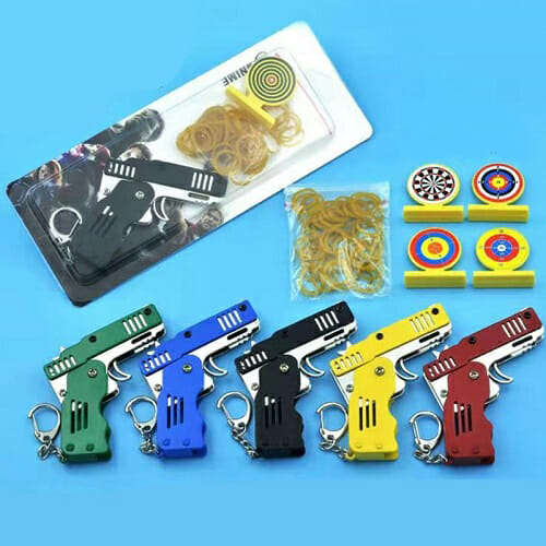 Mini Folding Rubber Band Gun Toy Keychain