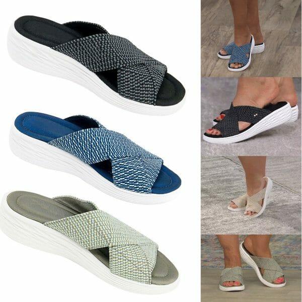 Women Stretch Cross Orthotic Slide Sandals