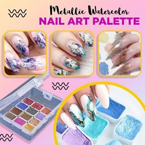 Metallic Watercolor Nail Art Palette
