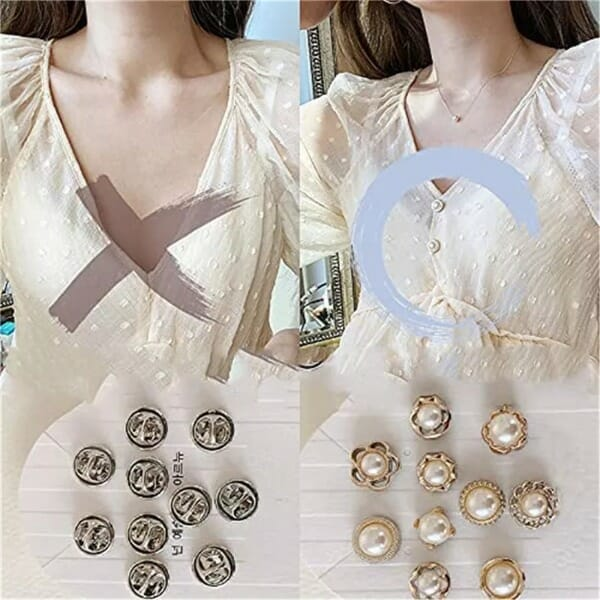 Pearl Cover Up Brooch Buttons Set