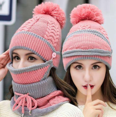 3 in 1 Women's Winter Knitted Beanie